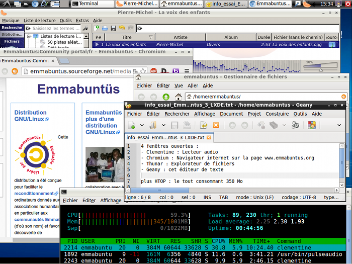 16-Emmabuntus 3 1 00 fr Utilisation LXDE Chromium Clementine Geany Thunar.png